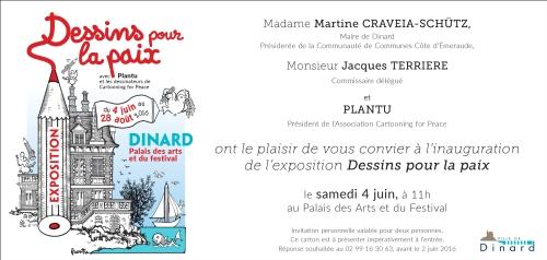 Invitation Exposition Dessins pour la paix